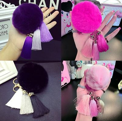 New  Handbag Pendant Cell Phone Car Tassel PomPom Ball Key Ring Real Rabbit Fur