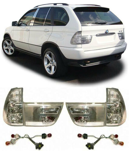 CLEAR CHROME LOOK REAR TAIL LIGHTS LAMPS FOR BMW X5 E53 1999-2003 v5