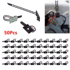 Black 50p Adjustable 3M Self-Adhesive Wire Cable Tie Clamp Clips Organizer Mount