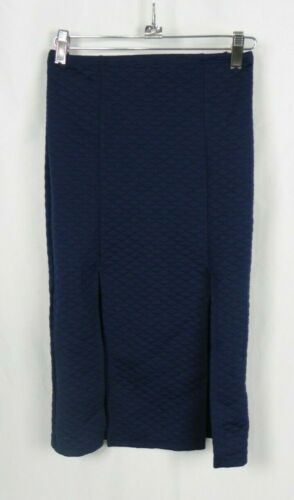 D1-29 NEW Tic Toc Quilted 2 Slit Stretch Waist Pencil Skirt Navy Blue or Red