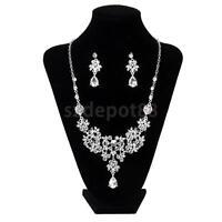 Bridal Wedding Formal Party Jewelry Crystal Rhinestone Necklace Earrings Set