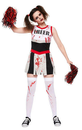 Zombie Cheerleader Stockings Ladies Halloween Fancy Dress Adult Costume Outfit
