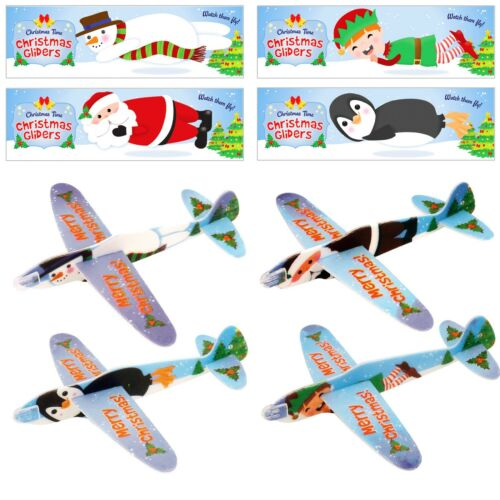 12 Kids Christmas Xmas Flying Planes Gliders With STICKERS Party Bag Filler