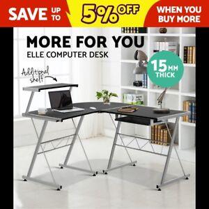 Artiss-Office-Computer-Desk-Corner-Table-Metal-Keyboard-Tray-Top-Shelf-Black