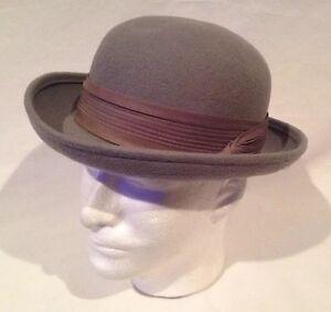 aef6a02ea2b Vintage Incredible Gray Bowler Style Hat Silk Ribbon 100% Wool Made ...