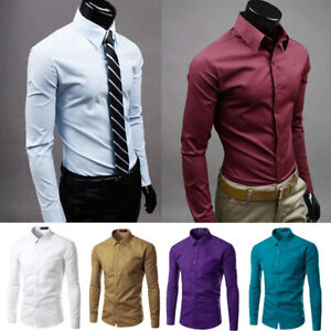 Men-Cotton-Slim-Fit-Long-Sleeve-Formal-Office-Business-T-Shirt-Work-Clothes