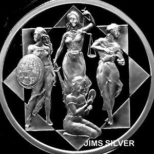 2019-Silver-Shield-CARDINAL-VIRTUES-1-oz-Silver-PROOF-w-COA-amp-BOX-IN-STOCK