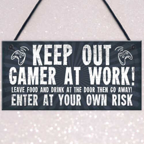 Funny Sign Keep Out Gamer At Work Man Cave Door Wall Plaque Dad Gifts For Men