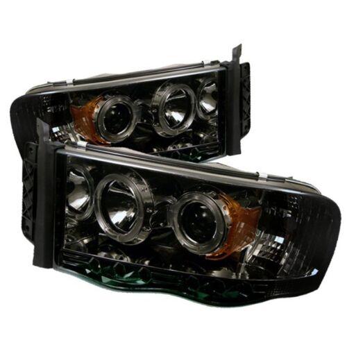 Dodge 02-05 Ram Smoke Dual Halo LED Projector Headlights Head Light Lamp