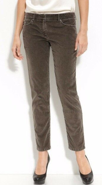 250 NWT THEORY Sz2 ROCHELY BRISTLE ANKLE CORDUROY-STRETCH PANTS GREY TAUPE