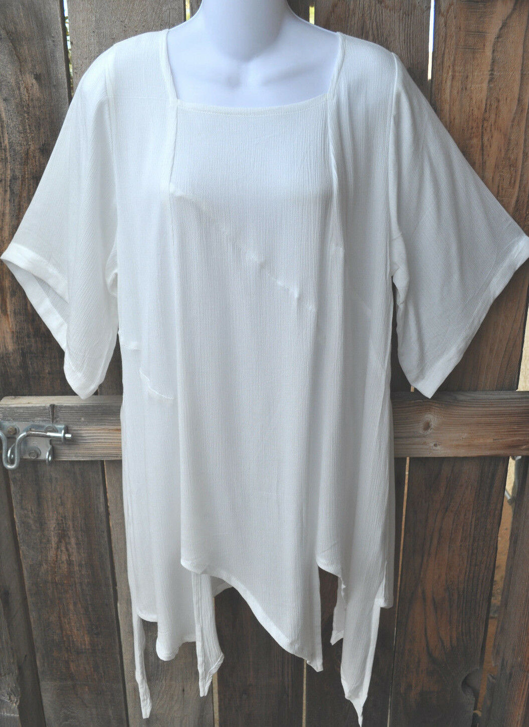 ART TO WEAR MISSION CANYON 74+ PIXIE HEM TUNIC IN CLASSIC SOLID Weiß, OS+,50 B