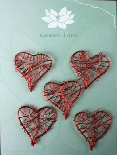 WIRE HEART Embellishments 5 Pack RED Size 30 x 30mm Green Tara
