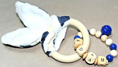 Schnullerkette /& Greifling mit Namen Knisterohr Set Natur Holz Junge Blau Junge