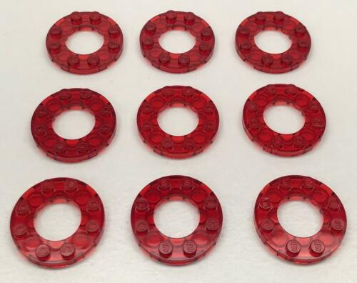 9 Neuf Lego Trans-Red Plaques 11833 Espace City Rond 4x4 Avec 2x2 Trou Lot