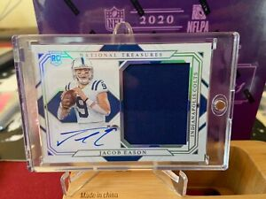 JACOB EASON 2020 NATIONAL TREASURES RPA RC ON CARD AUTO/PATCH /25 COLTS