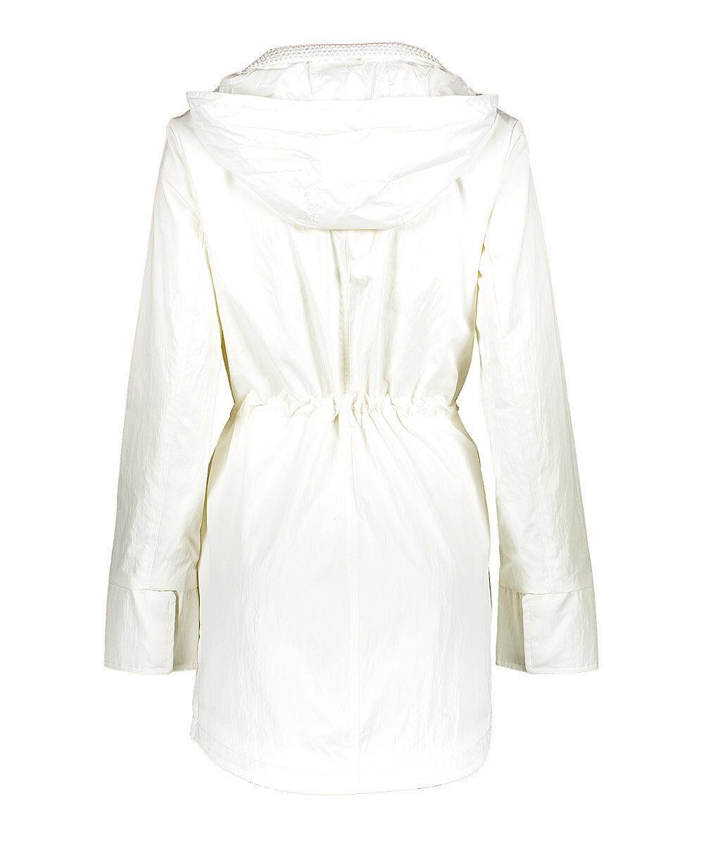 T Tahari Tahari Tahari Women's Asymmetrical Zip Anorak with Hood, Spring White 148e47