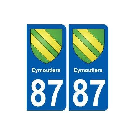 87 Eymoutiers blason autocollant plaque stickers ville droits