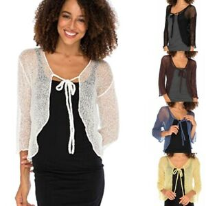 Women-039-s-Fashion-Sheer-Shrug-Cardigan-Cropped-Bolero-Jacket-Lightweight-Knit-Tops