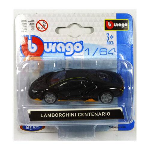 Bburago 59000 Lamborghini Centenario schwarz//gelb Maßstab 1:64 Modellauto NEU!°