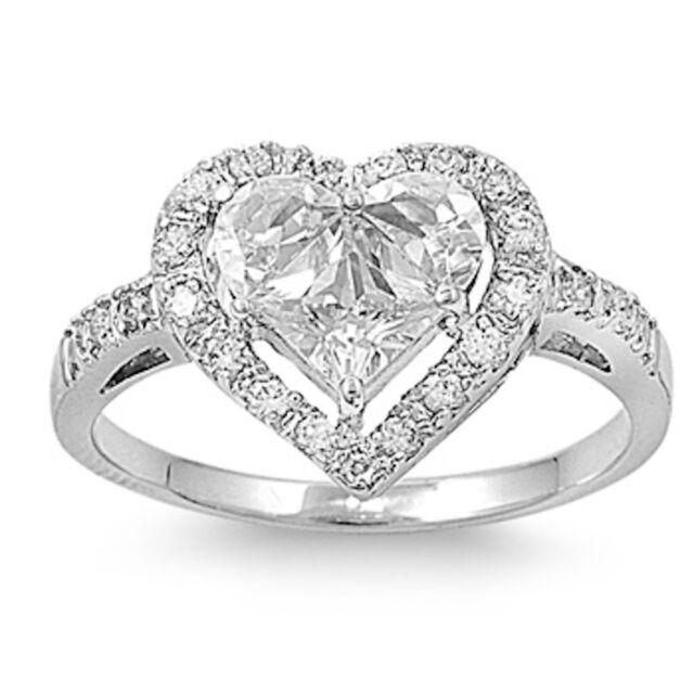 BEST SELLER! HEART CZ Promise LOVE .925 Sterling Silver Ring Sizes 4-10