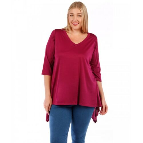 Womens MAGENTA Tunic Top Asymmetrical Yummy Plus Size 2X
