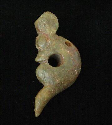 Old China HongShan culture Meteorite jade Hand-carved Tiger head amulet Pendant