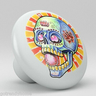 Skull Ceramic Knobs Pulls Kitchen Drawer Cabinet Vanity Closet 553 Dresser