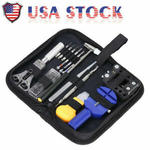 Watch-Repair-Tool-Kit-Opener-Link-Remover-Spring-Bar-Free-Hammer-Carry-Case-BS