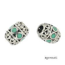 1PC Antique Sterling Silver Enamel Turquoise Blue Printed Charm Bead #94270