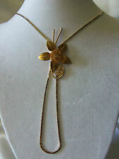 """INCREDIBLE Gold Chain w/ BOLO Style Sliding Layered FLOWER 30"""" Necklace 13EN204"""