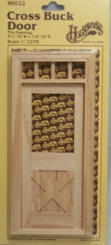 """Cross Buck Door w// Transom 1/"""" scale miniature dollhouse  Houseworks  #6012"""