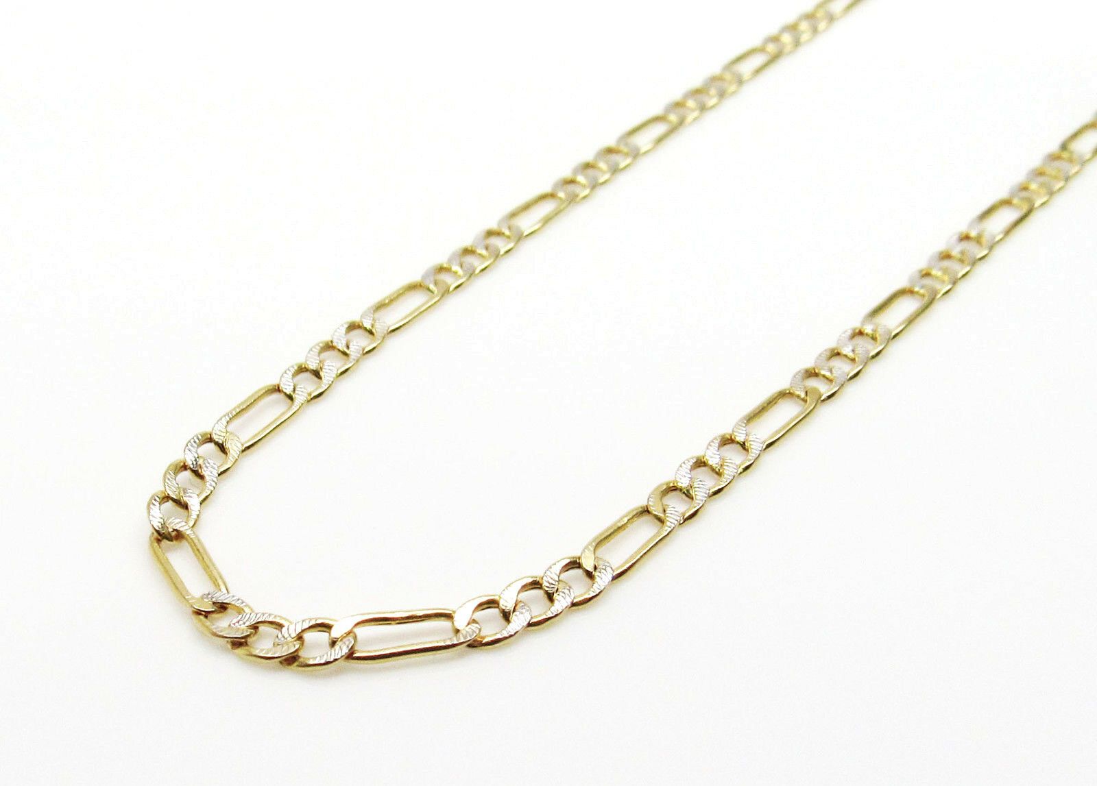 10K Hollow gold Diamond Cut Figaro Chain 20 Inches 2MM 2.4 Grams