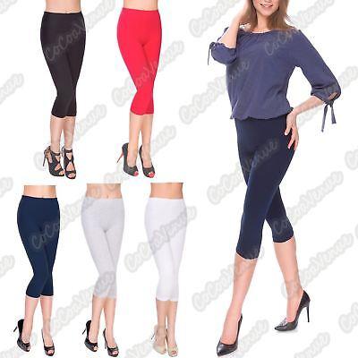 PACK OF 2 Womens Lace Trim Cotton Stretchy 3//4 Length Capri crop Leggings Pants