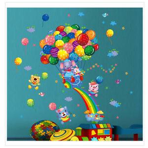 Tiere-Ballon-Wandsticker-Wandtattoo-Kinder-Elefant-Katze-Aufkleber-Wandaufkleber