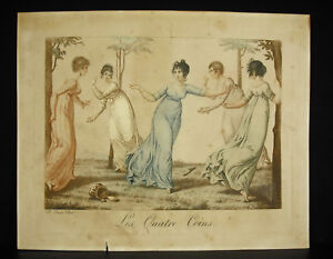 Jean-Francois-Bosio-1764-1827-Engraving-Colours-c1800-Game-Of-Four-Corners