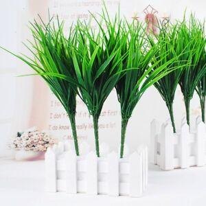 1-STUCK-Kuenstliche-Gefaelschte-Kunststoff-Gruene-Gras-Pflanze-Blumen-Hausgarten-D