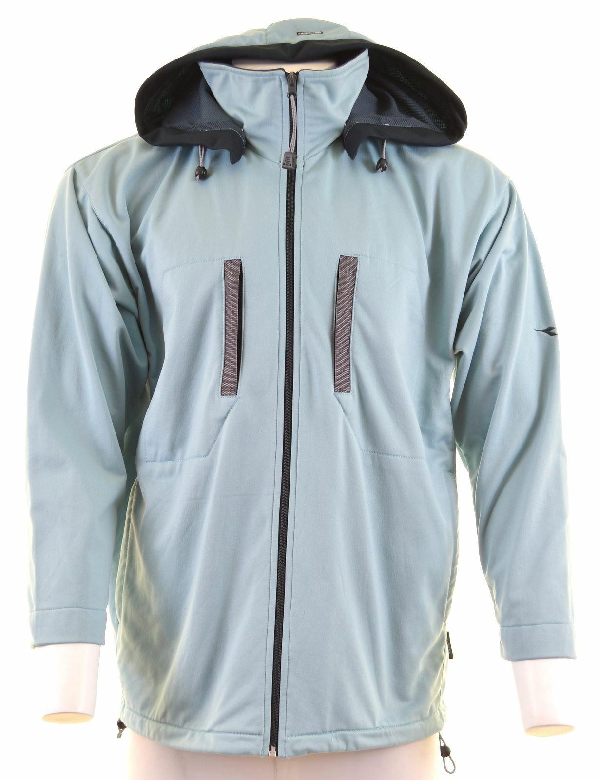 DIADORA Mens Hooded Tracksuit Top Jacket UK 44 2XL Blue Polyester JS13