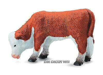 HEREFORD CALF GRAZING CollectA # 88242 Baby Farm Animal Ranch CATTLE Replica NWT