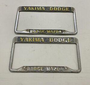 Yakima-Dodge-Dealer-Plate-Frames-License-Metal-Vintage-Mopar-Hemi-Mazda-Embossed