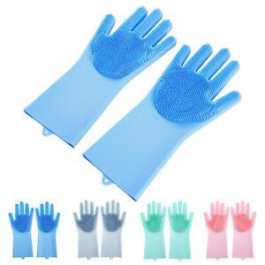 Bad, 2 Paar Silikon Handschuhe Waschhandschuh Spülhandschuhe für Küche