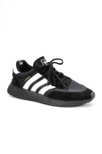 Adidas Mens Lace Up Low Top Running Sneakers Black White Suede Size 9.5