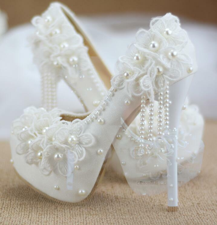 Women's White Lace Flowers Wedding Bridal Pearls Platform High Heel shoes Pumps