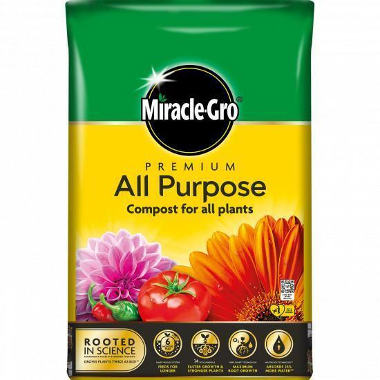 Miracle Gro Premium All Purpose Enriched Compost Fruit Beds Pots Grow 40 Litre