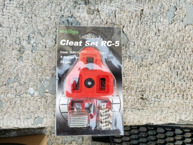 New Wellgo RC-5 Road Bike ARC Cleats 9 Degree Float LOOK Delta Compatible Red
