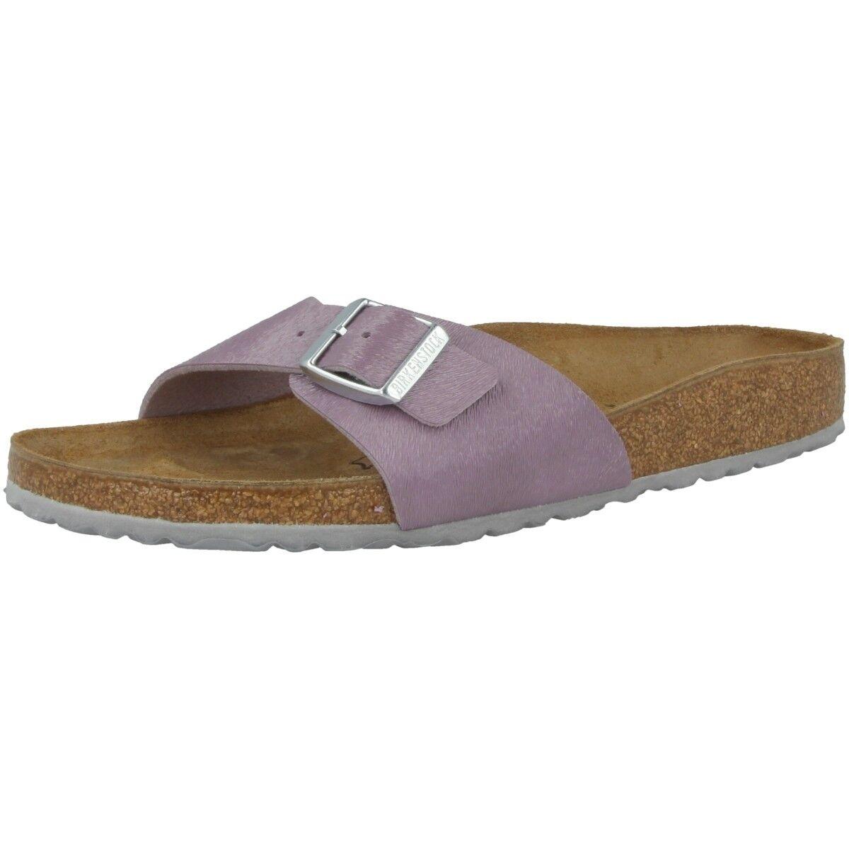 Birkenstock Madrid Birko-Flor Schuhe Pantoletten purple Weite schmal 1008660