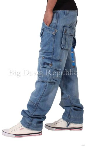 Tuta Blu Tempo è Denaro Peviani Uomo Designer Denim Jeans Cargo Combat