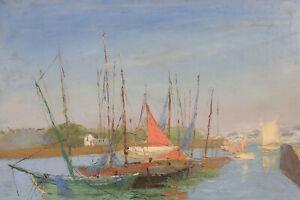 Marine-Antique-Oil-on-Canvas-Signature-post-Impressionism-Brittany