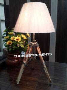 DESIGNER-NAUTICAL-MARINE-TABLE-LAMP-TRIPOD-TABLE-LAMP-DESK-LAMP-BROWN-STAND
