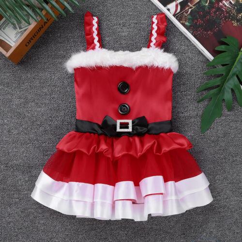 Enfant Bébé Fille Noël Santa Claus costume fourrure synthétique Princesse Robe Tutu Outfit