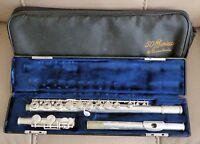 NICE GEMEINHARDT SERIES 50 Open Hole Flute MODEL 53 & HARD CASE SILVER PLATE EXC